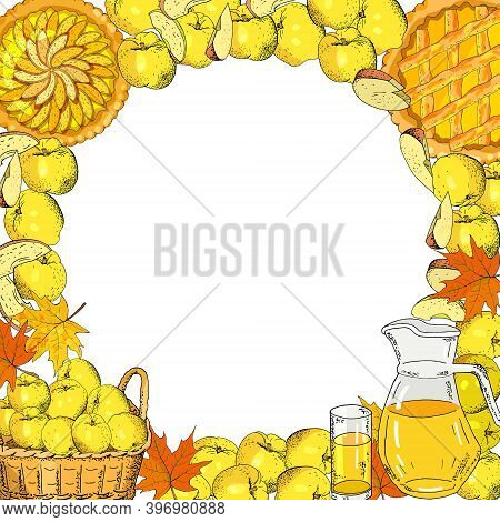 Square Template With Apples, Apple Slices, Apple Pies, Apple Juice Jug, Basket Of Harvest On A White