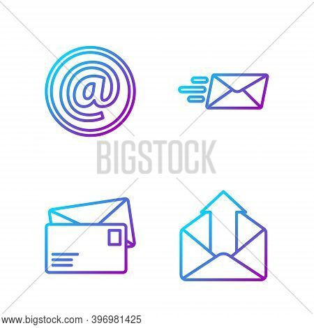 Set Line Outgoing Mail, Envelope, Mail And E-mail And Express Envelope. Gradient Color Icons. Vector