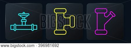 Set Line Industry Pipe And Valve, Industry Metallic Pipe And Industry Metallic Pipe. Black Square Bu