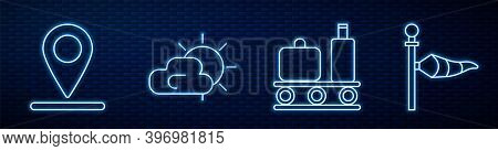Set Line Airport Conveyor Belt With Suitcase, Location, Sun And Cloud Weather And Cone Meteorology W