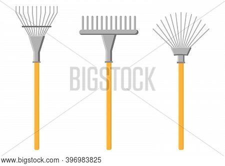 Cartoon Rake Icon Isolated On White Background. Gardening Tools. Vector Illustration In Cartoon Styl