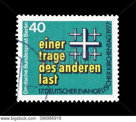 German, Berlin - Circa 1977 : Cancelled Postage Stamp Printed By Germany, Berlin, That Shows Crosses