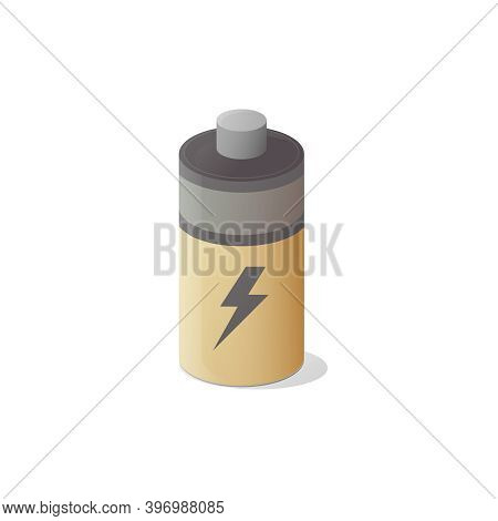 Alkaline Battery Icon. Isometric Vector Illustration. Isolated On White Background.