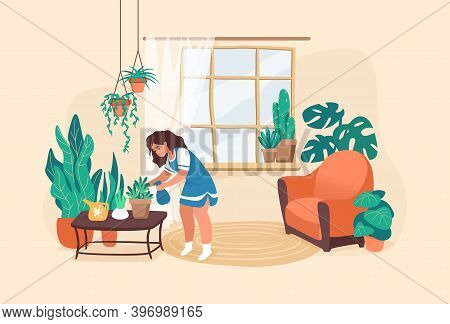 Woman Watering Flowers. Cartoon Young Girl Taking Care Of Plants. Decorate Room With Houseplants, Ho