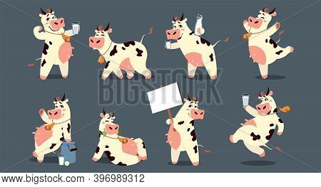 Cartoon Cow. Funny Smiling Domestic Animal Character. Cute Friendly Mascot With Metal Bell And Glass