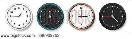 Clock. Realistic Wall Circle Watches With Hour, Minute And Second Hands. Isolated Black Or White Min