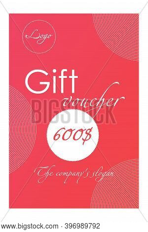 Gift Card Template For Individual Use. The Design Can Be Used For Gift Coupon, Card, Voucher, Invita