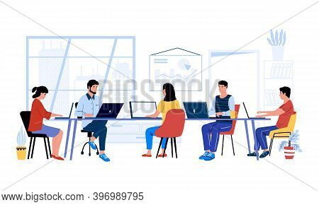 People At Desk. Cartoon Men And Women Working Together At Project. Office Colleagues And Coworking M