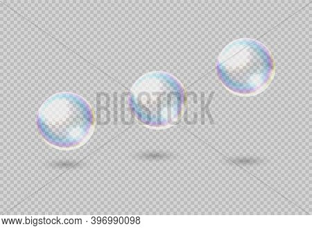 Soap Bubble. Realistic Rainbow Clear Shampoo Ball With Color Reflection. 3d Rising Or Soaring Glossy