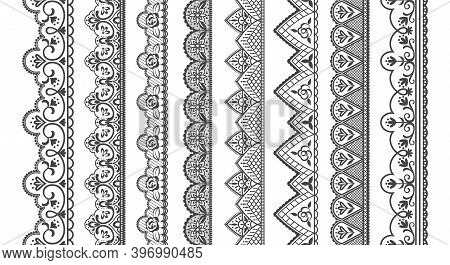 Lace Ornament. Seamless Decorative Borders For Invitation And Greeting Cards. Collection Of Frills,