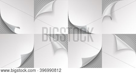 Curled Page Corner. Realistic Note Papers. 3d Folded Edge Templates On Transparent Background. Squar