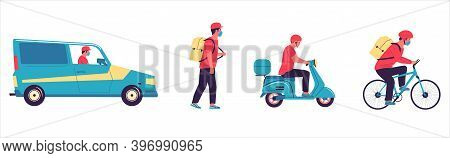 Delivery Courier. Cartoon Man Driving Car, Scooter And Bicycle. Postman Moving Around City On Foot O