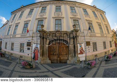 Sibiu, Transylvania, Romania - July 8, 2020: Brukenthal National Museum In Sibiu. It Is Located In T