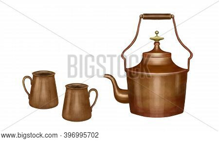 Illustration Of A Copper Teapot With Copper Cups. Isolated Illustration On White Background