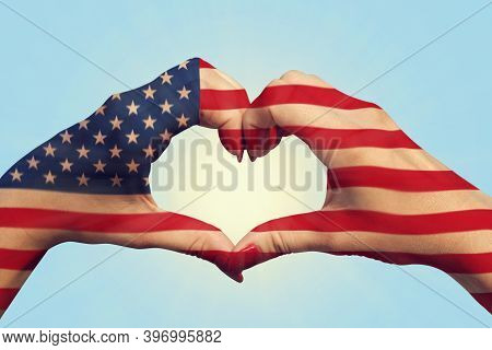 United States Of America Flag Pattern On People Hands In Heart Shaped. United States Of America Nati