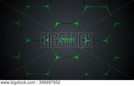 Dark Gray And Green Hexagonal Technology Vector Abstract Background. Green Bright Energy Flashes Und