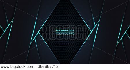 Dark Gray And Turquoise Hexagonal Carbon Fiber Background With Green Luminous Lines And Highlights.