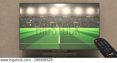 Sports Stadium On Tv Screen And Television Remote Control, Watching Soccer Football Matches, Sports