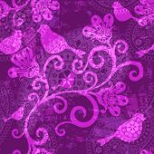 Violet repeating translucent grunge pattern with stylized birds and flowers (vector EPS 10) poster