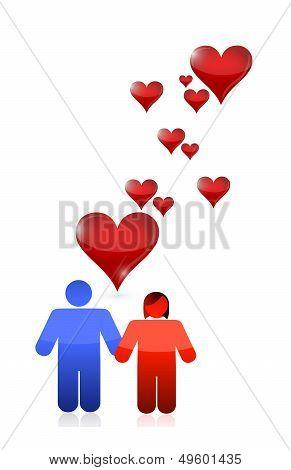 Love Couple Illustration Design