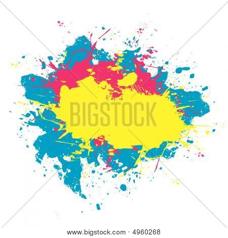 Colorful Cmyk Paint Splatter