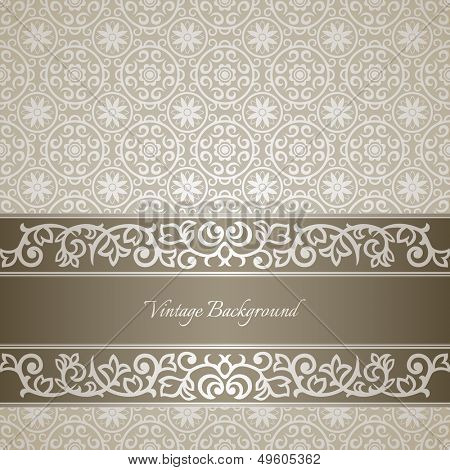 Silver vintage background with ornate frame