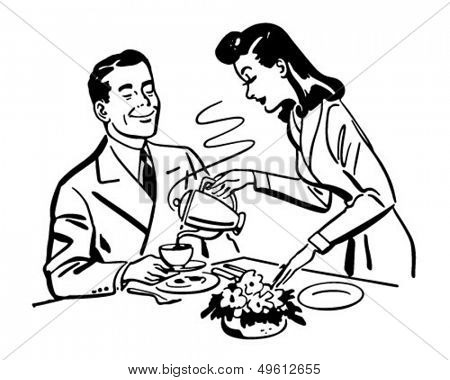 Coffee For Hubbie - Retro Clip Art Illustration