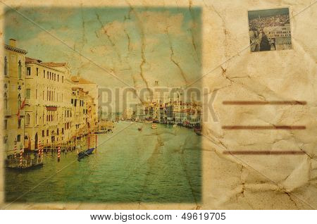 composition simulating a vintage postcard of Venice, Italy