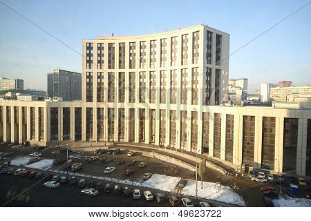 MOSCOW - DEC 20: View from Rosbank on modern building of Alfa-Bank on Sakharov avenue on December 20, 2012 in Moscow, Russia.