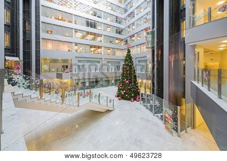 MOSCOW - DEC 20: Large hall with a Christmas tree in Main office Rosbank on December 20, 2012 in Moscow, Russia.