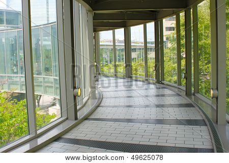 Spacious hallway in a public overpass