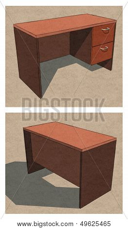Office Table Plan Front Back Perspective