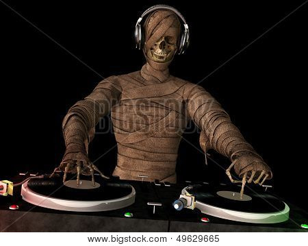 A mummy DJ is in the House and mixing up some Halloween horror. Turntables with vinyl albums. Isolated black background. poster