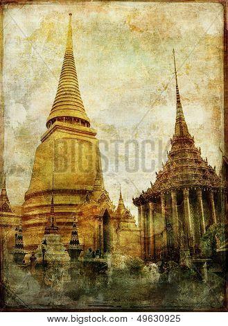 Thailand - king temple - vintage picture