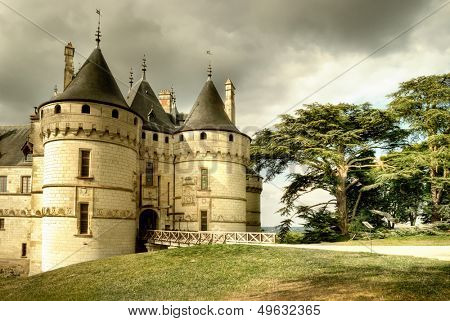 medieval Chaumont castle - artistic toned picture