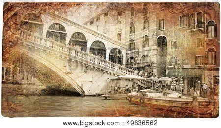 Venice - Rialto bridge - retro styled picture