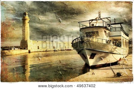 light house in Rethimno harbor - artwork in retro style