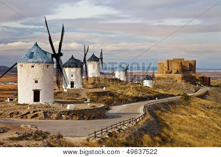traditional Spain - windmills of Don Quixote poster