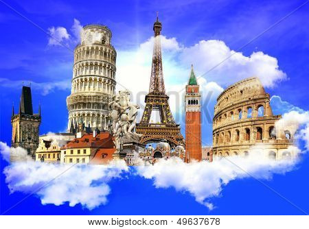 european traveling - touristic background