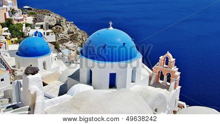 Santorini with traditional white-blue domes