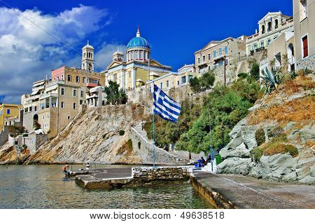 travel in Greek islands - Syros, Cyclades poster