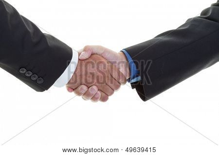 Closeup of a business handshake on a white background