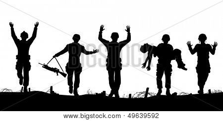 Editable vector silhouettes of a troop of defeated soldiers surrendering
