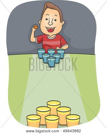 Illustration of a Man Playing Beer Pong