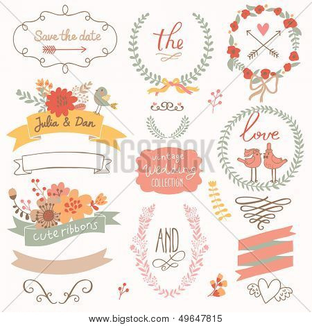 Wedding romantic collection with labels, ribbons, hearts, flowers, arrows, wreaths, laurel and birds. Graphic set �  Save the Date invitation in vector.
