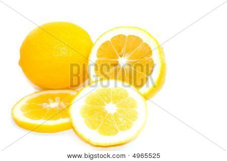 Yellow Meyer Lemons On White Background