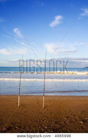 Surfcasting Rods At Taipa Beach