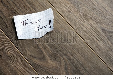Thank you - Hand writing text on wood background with space for text poster