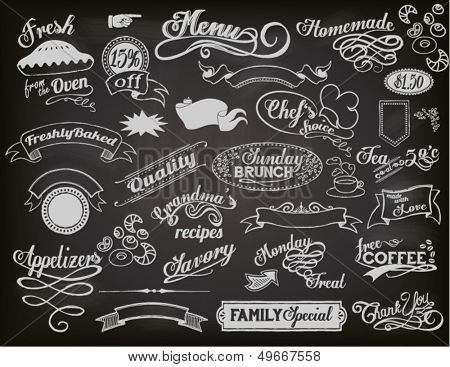 Chalkboard Ads, including banners, frames, labels, swirls and advertisements for restaurant, coffee shop and bakery