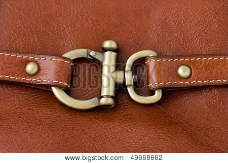 Lock Metal Ring On Brown Leather